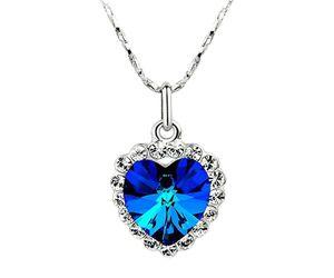 Halskette Collier Herz Titanic Herz des Ozeans Anhänger Kristall Zirkonia Strass Steine dunkelblau