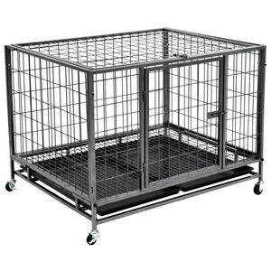 yocmall Schwerlast-Hundekäfig mit Rollen Stahl 98 × 77 × 72 cm