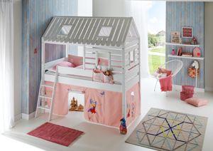 Relita Spielbett Tom´s Hütte und Bett Kim Buche massiv weiß lackiert. Textilset Princess BH1131117+ZB1371417+TX5002036+TX5032036-M1