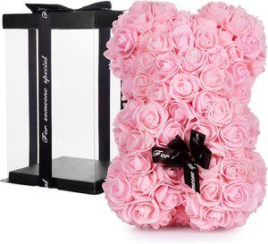 BRUBAKER Rosenbär Blumenbär mit Schleife 25 cm - Blumen Geschenk zum Valentinstag Jahrestag Geburtstag Hochzeit - Geschenkbox inklusive - Rosa