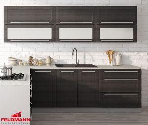 Küchenzeile Küchenblock Küche grau / fino schwarz 250cm