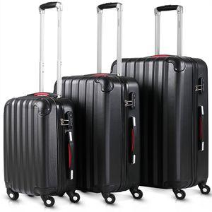 Monzana® 3tlg. Kofferset Baseline | M-L-XL | Gel-Griffe | Kantenschutz | Schloss | Trolley Hartschalen Koffer Reisekoffer Set, Farbe:schwarz