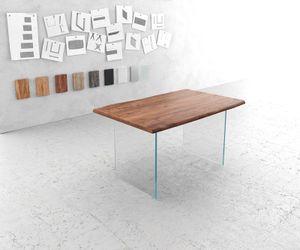 Esszimmertisch Edge Akazie Braun 140x90 Glas Live-Edge