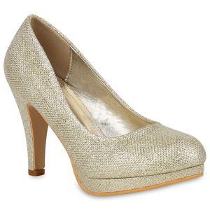 Mytrendshoe Damen Glitzer High Heels Pumps Plateau Vorne 78827 Party Stilettos, Farbe: Gold, Größe: 36