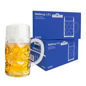 12er Set Maßkrug 1 Liter geeicht Bierkrug mit Henkel Bierglas perfekt geeignet für Gastronomie