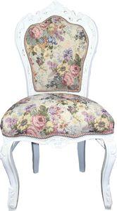 Casa Padrino Barock Esszimmer Stuhl Blumen Muster / Antik Weiss Mod 2 - Antik Stil Möbel