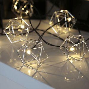 LED-Lichterkette 'Edge' - 10 warmweiße LED - 2,25m - schwarzes Kabel - Trafo - silber