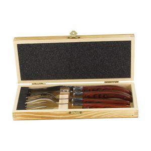 Solex BBQ Steakbesteckset mit Echtholzgriff aus Pakkaholz in einer Holzbox