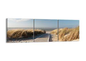 "Leinwandbild - 120x40 cm - ""Hinter der Düne, im Rascheln des Grases""- Wandbilder - Meer Strand Düne - Arttor - CA120x40-2657"