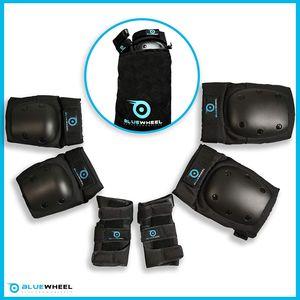Bluewheel Schutzausrüstung PS200 Größe: S, Für Hoverboard, Inline-Skate, BMX-Fahrrad, Skateboard; Protektoren-Set mit optimaler Passformregulierung & festem Sitz für Kinder und Erwachsene – inkl. Tragebeutel