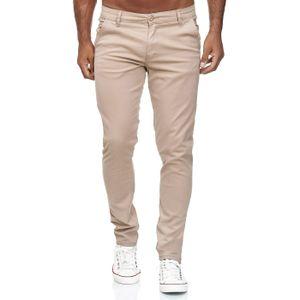 Reslad Herren Chino Hose Slim Fit Herrenhose Stretch Stoffhose | bequeme Chino Hosen für Herren Baumwolle Designer 5-Pocket Hose Beige W32 / L34