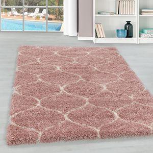 Teppium Hochflor Teppich, Wohnzimmerteppich, Kachel Muster, Rechteckig ROSA, Farbe:ROSA,200 cm x 290 cm