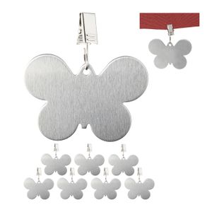 relaxdays 8 x Tischdeckenbeschwerer Tischtuchgewichte Tischtuchbommel Schmetterling silber