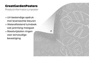 Gartenposter - s und glänzendes Muster aus rosa Blättern mit blauem Hintergrund - schwarz und weiß - 100x100 cm