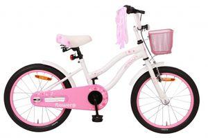 Amigo Flower - Kinderfahrrad für Mädchen - Mädchenfahrrad 18 zoll - Kinderfahrader ab 5-8 Jahre - Weiß