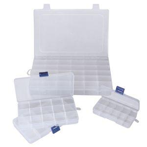 Aufbewahrungsbox Organizer (4-er Pack) - Sortierbox mit Fächern aus Plastik Transparent, 1 Groß, 2 Medium, 1 Klein – Sortimentskasten für Schmuck, Perlen, Bügelperlen, Lego, Nähen, Fischen, Werkzeug