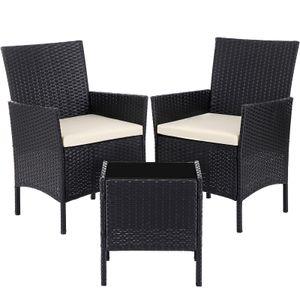 SONGMICS 3er Set Gartenmöbel aus Polyrattan | Gartentisch mit 2 Stühlen | Beistelltisch mit Hartglasplatte Gartensessel 2 abnehmbare Kissen schwarz-beige GGF001B02