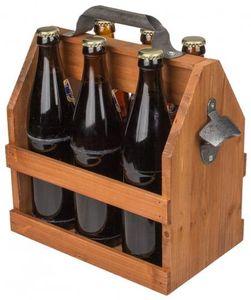 OOTB Holz Flaschenhalter Flaschenträger für 6x 0,5l longneck Flaschen
