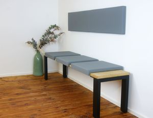 Klemm-Kissen Sitz-Kissen mit 2 Leisten Tiefe 40 cm grau rot taupe, Farbe:grau
