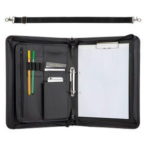 ONVAYA® Konferenzmappe A4 mit Tragegurt | schwarz | Aktenmappe | Businessmappe | Schreibmappe mit Block | strapazierfähiges Kunstleder | Metallplatte für Gravur | Dokumentenmappe