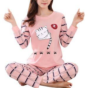 Winter Cute Cartoon Cat Print Pyjama Set Frauen Zweiteilige Langarm Nachtwäsche||Rosa||XXL