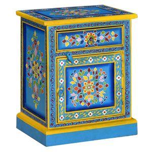【Neu】Nachttische Nachttisch Mangoholz Massiv Türkis Handbemalt Gesamtgröße:40 x 30 x 50 cm BEST SELLER-Möbel-Tische-Nachttische im Landhaus-Stil