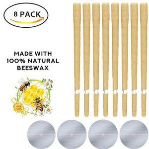 Ohrenkerzen zur Reinigung 8 Stück, Ohrkerzen Ohrenschmalz Entferner Kit mit Natürliches Bienenwachs, Ohr Wachs Kerzen mit 4 Stück Schutzscheiben