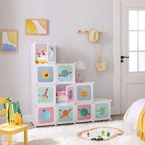 SONGMICS Kinderregal mit 10 Würfeln, 123 x 31 x 123 cm, Aufbewahrungsschrank für Kinder, Regalsystem, Steckregal, Schuhregal aus Kunststoff, Kleiderschrank mit Türen, weiß LPC903W01