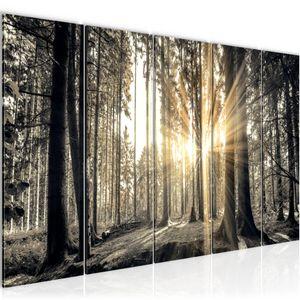 Wald Landschaft BILD 200x80 cm − FOTOGRAFIE AUF VLIES LEINWANDBILD XXL DEKORATION WANDBILDER MODERN KUNSTDRUCK MEHRTEILIG 503855a