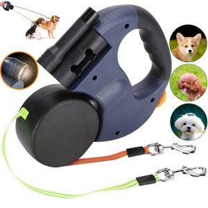 3m Einziehbar Hundeleine Rollleine Gurtleine Doppelleine für 2 Hunde mit LED Lampe