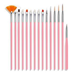 15pcs Nail Brush Kit Nail Art Tipps UV Gel Nail Builder Brush für Nail Art Design, Pink