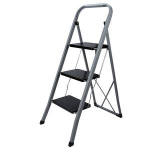 EINFEBEN Trittleiter 3 stufen Klapptritt, 20 cm breite Stufen, Klapptreppe Tritt Haushaltstritt Stehleiter, Anti-Rutsch-Fš¹?e, Sprossenleiter faltbar, bis 150 kg belastbar, aus Stahl