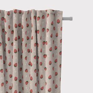 SCHÖNER LEBEN. Vorhang Vorhangschal mit Smok-Schlaufenband Erdbeeren natur 245cm oder Wunschlänge