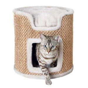 TRIXIE Cat Tower Ria, Katzenkratzbaum, Freistehend, Beige, Grau, Plüsch, Sisal, Handwäsche