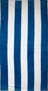 Strandlaken, Strandtuch 150 x 75 cm, blau weiss Blockstreifen, 100% Baumwolle, Velour Frottier, Badetuch, Frottee