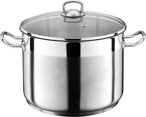 7 Liter Kochtopf mit Glasdeckel Suppentopf Topf Eintopf Universaltopf Silber INDUKTION