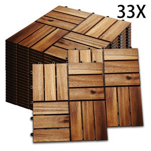 Hengda 3m2 Holzfliesen Mosaik Akazienholz Fliese 33 Stueck 30x30 cm Balkonfliesen Gartenfliesen Terrassenfliesen fuer Garten Terrasse Balkon