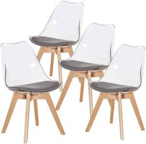 H.J WeDoo 4 x Transparent Stühle Skandinavisch Esszimmerstuhl mit Grauem Stoffkissen und Buchenholzbeine, Grau
