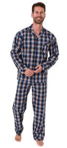 Edler Herren Pyjama langarm Schlafanzug gewebt zum Knöpfen im Karo Design - 65342, Farbe:blau, Größe:50