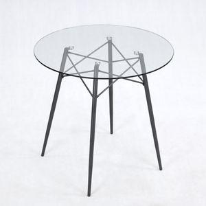 B&D home® Esstisch mit Glasplatte rund Ø80 cm Dunkelgrau