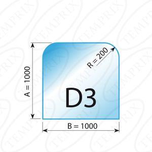 Kaminbodenplatte Transparent Form D3  1000 x 1000 x 6mm - Version ECO (Tragkraft bis 550 Kg)