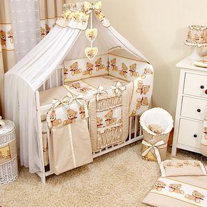 Baby Luxus Kinderbetten  120x60 Holz Gitterbett,Babybett,Kinderbettset Beige Komplett Set inklusive