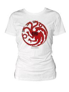 Game of Thrones Targaryen T-Shirt für Damen weiss-rot