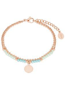s.Oliver 2027602 Damen Armband Edelstahl Rose grün 20 cm