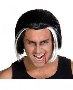 Schwarz-weiße Vampir Perücke 27cm für Halloween