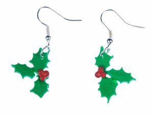 Christusdorn Ohrringe Winterbeere Blätter rote Früchte Weihnachten Zweige