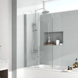EMKE Duschabtrennung 120x140cm Faltwand für Badewanne Badewannenaufsatz Faltwand Duschtrennwand Duschwand aus 6mm NANO Easy Clean GLAS