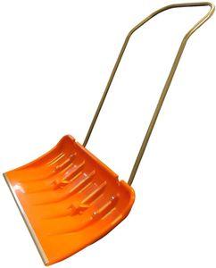 Schneeschieber Schneeschaufel Orange extra breit mit Rollen Stahlblech-Stiel Schiebekante Alu
