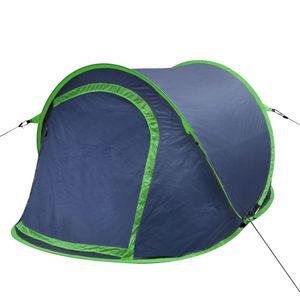 CampFeuer Tunnelzelt Pop-Up-Zelt für 2 Personen Marineblau/Grün
