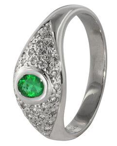 trendor 70722 Smaragd-Ring Weißgold, 54/17,2